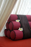 Tradition Thai style pillow on sofa chair Royalty Free Stock Photography