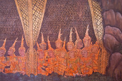 Tradition thai style on the wall Stock Photography