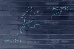 From tradition to innovation, man climbing stairs metaphor Royalty Free Stock Photo