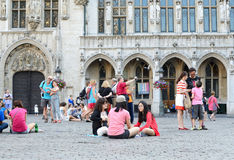 Tradition to sit on Grand Place Stock Photography