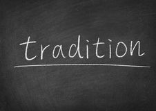 Tradition. Concept word on a blackboard background Royalty Free Stock Images