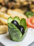 Tradition turkish meze - black olives Royalty Free Stock Photo
