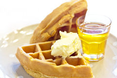 Tradition waffle with butter Royalty Free Stock Images