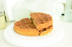 Tradition waffle in white plate on the table Royalty Free Stock Photos