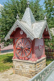 Tradition wooden building for water well in Bucovina, Romania Stock Image