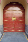 Traditiona Chinesel red door at Temple of Heaven Stock Images