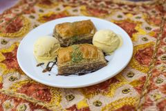 Traditiona indian dessert Baklawa. With ice cream scoop Stock Photography