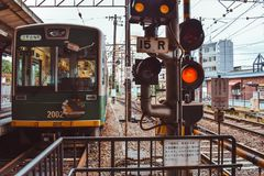 Traditiona Japanese passenger train of the Hankyu Kyoto line stock images