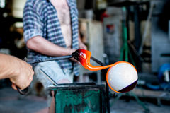 Traditiona technique of glass blowing Royalty Free Stock Photography