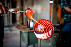 Traditiona technique of glass blowing Royalty Free Stock Images