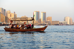 The traditional Abra boat with people Royalty Free Stock Photo