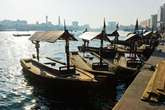 Traditional Abra ferries at the creek in Dubai Stock Photography