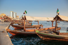 Traditional Abra ferries in Dubai Royalty Free Stock Images