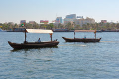 Traditional Abra ferries in Dubai Royalty Free Stock Photography