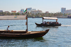 Traditional Abra ferries in Dubai Stock Photography