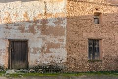 Traditional adobe architecture in Calzada de Tera in Zamora, step of the Camino de Santiago on the silver route Spain.  royalty free stock images