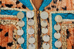 Traditional Afghani waistcoat decorated with old coins Royalty Free Stock Photos
