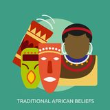 Traditional African beliefs conceptual design. Great flat icons with style long shadow icon and use for celebration, religion, event and much more stock illustration