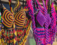 Traditional African colorful handmade beads clothes. Folk art. Royalty Free Stock Photography