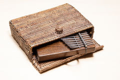 Traditional African Instrument Kalimba Or Thumb Piano In A Wicker Case Royalty Free Stock Photos
