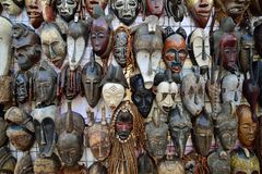 Traditional African masks Stock Photos