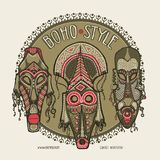 Traditional African masks. Ethnic style card template, boho shop, business cards. Vector illustration vector illustration