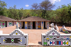 Traditional African Ndebele tribe Village. A few huts from a traditional Ndebele Tribe village in South Africa Stock Photo