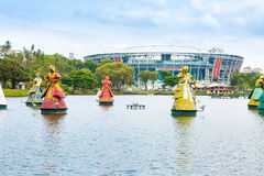 The traditional African Saints Statues, Orixas, displayed in front of the Itaipava Arena Fonte Nova stadium in Salvador, Brazil Royalty Free Stock Photos