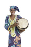 Traditional african woman with djembe drum. Studio Shot Stock Image