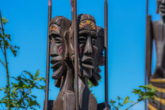 Traditional african wood sculptures. Handmade by artist stock photo