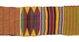 Traditional African woven cloth. Traditional African woven textile design over white Stock Photo