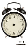 Traditional Alarm Clock. With black face and separate hands to show anytime isolated on white with clipping path Stock Image