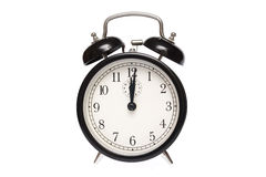 Traditional alarm clock. Black alarm clock isolated on white Royalty Free Stock Images