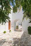Traditional alley of cyclades at Paros island in Greece. Stock Photography
