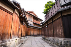 An traditional alley in Ishibe Koji. Traditional wooden walls along the alleys of Ishibe Koji, an area filled with traditional inns and shops. The undiscovered stock image