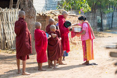 Traditional alms round in Myanmar Royalty Free Stock Photos