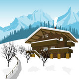 Traditional alpine chalet in the mountains of Alps royalty free illustration