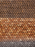 Traditional alpine wooden shingle wall Royalty Free Stock Images