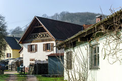 Traditional alsace country house, spring day Royalty Free Stock Photos