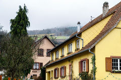Traditional alsace country house, spring day Stock Images