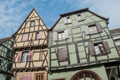Traditional alsatian facades of building Royalty Free Stock Images
