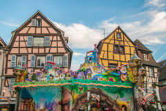 Traditional Alsatian Half-timbered Houses Decorated In Winter Holidays In Colmar Royalty Free Stock Photography