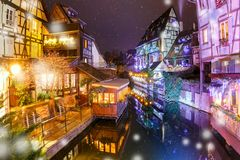 Christmas Little Venice in Colmar, Alsace, France Stock Photography