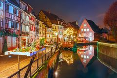 Christmas Little Venice in Colmar, Alsace, France Royalty Free Stock Photography