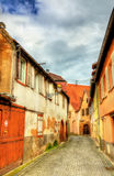 Traditional Alsatian houses in Molsheim - France. Traditional Alsatian houses in Molsheim - Bas-Rhin, France royalty free stock images