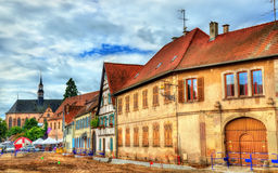 Traditional Alsatian houses in Molsheim - France Royalty Free Stock Images