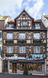 Traditional Alsatian Houses in Winter Stock Photography
