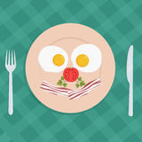 Traditional american breakfast plate with fried eggs and bacon - flat style vector illustration Royalty Free Stock Photo