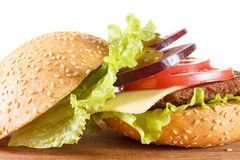 Traditional American cheeseburger. Meat, bun and vegetables close up. Ingredients traditional American cheeseburger. Meat, bun and vegetables close up on white Royalty Free Stock Photo