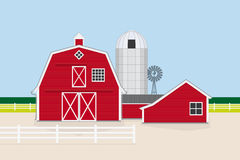 Traditional American Farm Vector Illustration Royalty Free Stock Photo